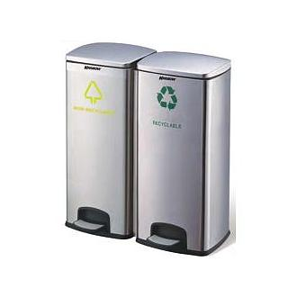 KRISBOW TEMPAT SAMPAH/DUST BIN 2 COMPARTMENT 30 L WITH PEDAL